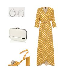 Mustard/ yellow polka-dot wrap maxi dress+mustard/ yellow embellishment ankle strap heeled sandals+silver hoop earrings+white and silver clutch. Summer Semi Formal Event/ Wedding Guest Outfit 2018