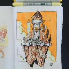 Heres a cool #fantasy #architecturedrawing by Dennis Kretzing (@denniscreatething) of a tall tower built in a floating mass of stone. Its probably a great way to spot would-be invaders long before they show up at your door plus it looks like a pretty well-defended location.  Though now that I think about it this tower probably wasnt built on a piece of floating rock. If you examine the drawing youll note that there is a well and in the ground below that well the bucket used for drawing water… Castle Drawing, Tower Building, Sketchbook Pages, Fantasy Artwork, Medieval, Illustration Art, Doodles, Bottled Water, Water Well