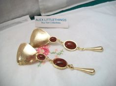 Vintage Clip on Gold tone Earring Carnelian by ALEXLITTLETHINGS, $10.00