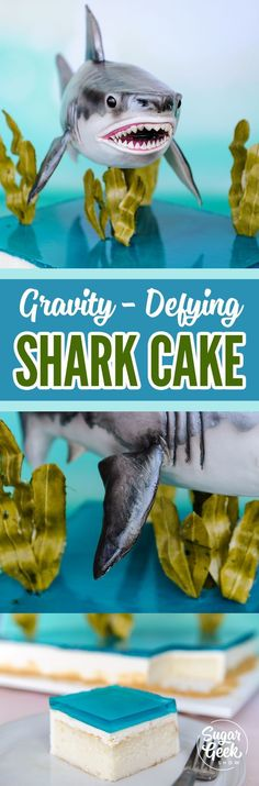 This shark cake looks like it's about to swim right up to you and take a bite! Featuring a gravity-defying structure, flexible edible seaweed and Jell-O water. Sculpt a shark out of cake, learn to paint details and make sugar eyes! All your guests will Cake Decorating Techniques, Cake Decorating Tutorials, Cookie Decorating, Gravity Defying Cake, Gravity Cake, Cupcakes, Cupcake Cakes, Edible Seaweed, Cake Structure