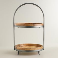 Wood and Metal 2-Tier Serving Stand