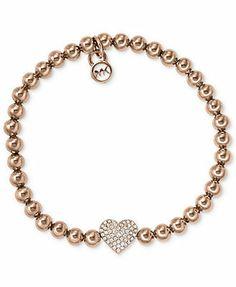 Michael Kors Bracelet, Rose Gold-Tone Bead Crystal Heart Charm Bracelet