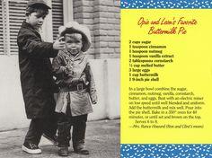 Mayberry Opie & Leon's Favorite Buttermilk Pie Recipe Postcard | Flickr - Photo Sharing!