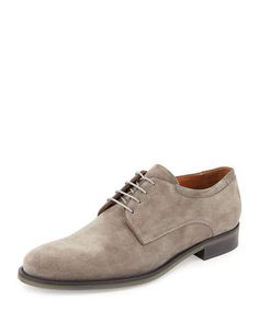 N36YJ Vince Suede Lace-Up Oxford, Light Brown