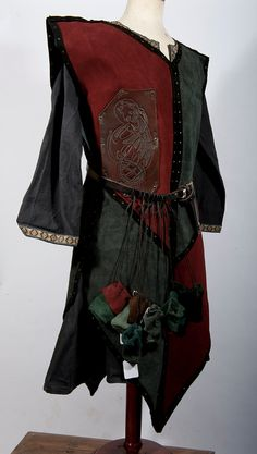 Armor Pagan Wicca Witch:  Burgundy and grey leather #armor #tabard, by BarbwireandRoses.