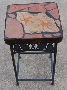 Little Star: My last natural stone toped table of 2020 Accent Tables, Little Star, Recycled Materials, Vanity Bench, Natural Stones, Folk Art, Recycling, Nature, Furniture