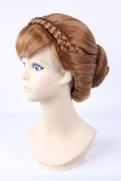 Anna Princess Frozen plate made brown bangs cosplay wigs. Package:1wig. 100% Top Quality & Brand NEW. 100% Japanese Kanekalon (high quality one) made fiber wigs. The size is adjustable,it can fit on most people.you can adjust the hooks inside the cap to the correct size to suit your head. It's fit for your Parties,Cosplay & Daily Use.