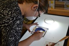 Student on one of the weekend courses.  Stained glass classes. Edinburgh
