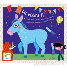 Pin the tail on the donkey game by Djeco. The idea is to pin the tail on the right spot on the donkey whilst wearing a blindfold.   Contains a blindfold, donkey poster, 16 donkey tails and a sheet of sticky dots.  Suitable FromAge 4+ DimensionsPoster 54 x 54cm BrandDjeco Product CodeDJ02091 Barcode3070900020917