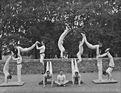 in a Physical culture class at the Church of Ireland Model School in Water Street, Waterford, 27 April 1909 Circus Pictures, Cool Pictures, Human Pyramid, Church Of Ireland, Kinesthetic Learning, Office Exercise, Model School, Family Research, Going Back To School