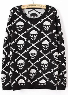 Skull Print Knit Sweater