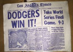 1959 #Dodgers win world series los angeles times paper napkin snider sherry 2 pcs from $9.99