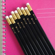 black pencils with gold foil arrow set of 24 by lettercdesign
