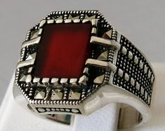 Handmade 925 Sterling Silver Natural Brown Agate & Marcasite STONE Men's RING #C135