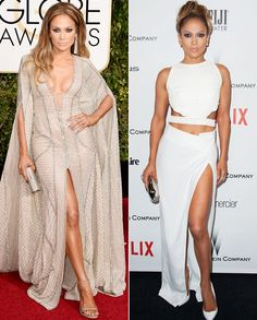 Jennifer Lopez in Zuhair Murad and Amanda Wakely halter top and matching thigh-high slit skirt for the after-party - Golden Globes After-Party Looks Celebrity Red Carpet, Celebrity Look, Celeb Style, Couture Fashion, Girl Fashion, Fashion Outfits, Fashion Design, My Unique Style, Fashion Figures