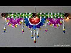 Easy Border/Toran rangoli for diwali Rangoli Side Designs, Easy Rangoli Designs Videos, Rangoli Designs Peacock, Easy Rangoli Designs Diwali, Rangoli Simple, Rangoli Designs Latest, Rangoli Borders, Free Hand Rangoli Design, Small Rangoli Design