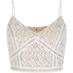 White Lace Crop Top ($26) ❤ liked on Polyvore featuring tops, crop top, shirts, v-neck tops, evening wear tops, lace top, white v neck top and spaghetti-strap top