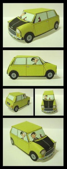 Paper model of Mr. Mr Bean Birthday, Camo Birthday Party, Mr Bean Cake, Bean Cakes, Mr Bin, Mr Bean Cartoon, Cardboard Car, Party In A Box, Paper Models