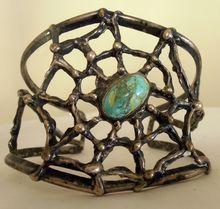 Vintage Pawn Sterling Silver Turquoise Spider Web Native American Navajo Bracelet Bangle