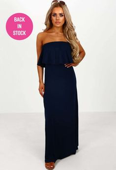 0b7ff42630a93 Summer Loving Navy Frill Bandeau Jersey Maxi Dress | Pink Boutique Gold  Sandals, Summer Loving. Pink Boutique UK