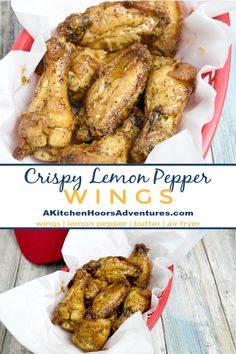 Crispy Lemon Pepper Wings Crispy Lemon Pepper Wings have that slightly tart and peppery taste you'd expect from lemon pepper. Made in the air fryer, they're super easy, crispy and low maintenance for your game day. Frozen Chicken Wings, Cooking Chicken Wings, Crispy Chicken Wings, Air Fryer Chicken Wings, Chicken Wing Recipes, Chicken Drumsticks, Chicken Legs, Lemon Peper Wings, Lemon Pepper Chicken Wings