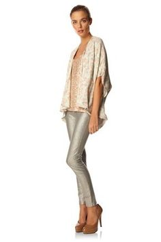 kimono jacket with skinnies and nude shoes.
