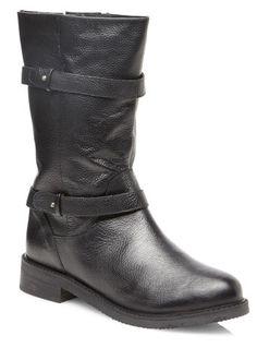 fc5e16b6197165 Evans Black Leather Military Biker Boots - Long Boots - Shoes Biker Boots