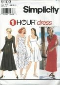 "An original ca. 1996 Simplicity Pattern 9103.  Misses'/Miss Petite dress with sleeve and length variations…dress sized for stretch knits only:  Pullover flared dress has scoop neckline and is sized for 2"" stretch knits only.  See Pick-A-Knit Rule.  View A is knee length.  View A and B are sleeveless.  View B, C and D are calf length.  View C has short cap sleeves.  View D has slightly belled long sleeves."