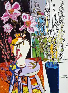 April Still LIfe, silkscreen print from the studio of Elizabeth.  www.ebrinton.com//gallery