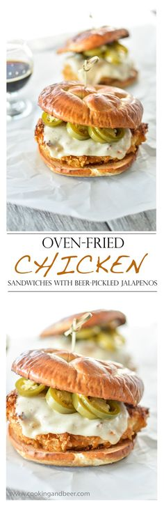 Oven-Fried Chicken Sandwiches with Beer-Pickled Jalapenos | http://www.cookingandbeer.com | /jalanesulia/