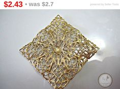 1 Year Anniversary Sale, 5/8 - 5/11! Large raised square brass filigree, great for many different jewelry designs.  Quantity: 1  Size: 41mm x 41mm  ITEM#: 32F-V7-2015   Please stop by my other Etsy shops:  htt... #supplies #handmade #findings