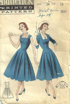 Butterick 7315 Vintage 50s Sewing Pattern Size 16 Dress.  What wonderful wide pleats! The version on the left is very similar to my wedding dress; mine was floor length, but otherwise the same!