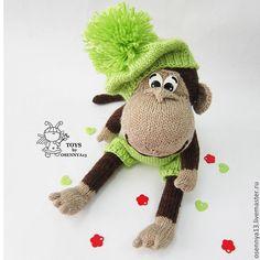 """Купить МАСТЕР-КЛАСС """"Озорная обезьянка"""" - коричневый, вязание спицами, вязаная игрушка, авторская игрушка"""