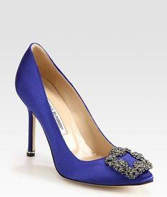 Manolo Blahnik Hangisi Jewel Satin Point Toe Pump in Cobalt Blue, USD945 at SAKS and Bergdorf Goodman