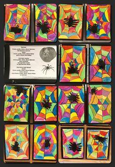 Spinnen im Netz. Wachsfarben und Wasserfarben #bastelnbeton notes2.dogstyle.gq/,  #bastelnbeton #Netz #notes2dogstylegq #schoolnotesforkids #Spinnen #und #Wachsfarben #Wasserfarben