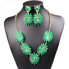 Chic Women Hedgehog Bob Statement Necklace Earrings Set Eardrop Collar Jewelry