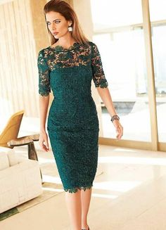 Gorgeous Lace Mother of the Bride Groom Dresses Sheath Column Teal Illusion Neckline Short Sleeves Cocktail Party Gowns Custom Made Petite Dresses, Trendy Dresses, Nice Dresses, Vestidos Vintage, Vintage Dresses, Bridesmaid Dresses, Prom Dresses, Formal Dresses, Wedding Dresses