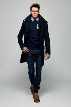 comment avoir une vision elegant avec le manteau homme celio bleu foncé