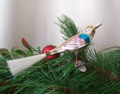 Vintage Clip on Bird Christmas Ornament Spun Glass Tail Glass Bird by cynthiasattic on Etsy