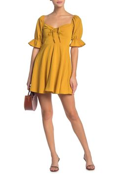 Tie Front Elbow Length Puff Sleeve Dress