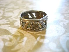 Vintage Uncas Sterling Floral Cut Out Band Ring by charmingellie, $17.00