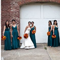 teal and orange Boyle a nice compromise on what you both want for the wedding party. autumn wedding colors / wedding in fall / fall wedding color ideas / fall wedding party / april wedding ideas Peacock Bridesmaid Dresses, Red Bridesmaids, Wedding Dresses, Teal Dresses, Long Dresses, Pretty Dresses, Wedding Themes, Wedding Colors, Wedding Ideas