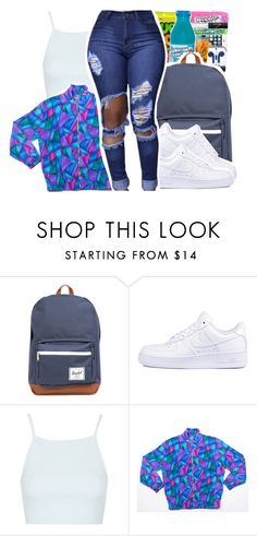 """""""Back to school outfit """" by pinksemia ❤ liked on Polyvore featuring Herschel Supply Co., NIKE and Topshop"""