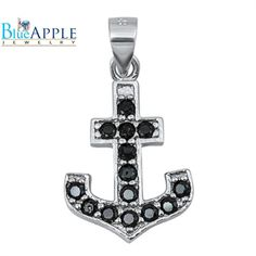 Anchor Charm 24 mm Solid .925 Sterling Silver Rhodium-plated Cut-out Heart Cross