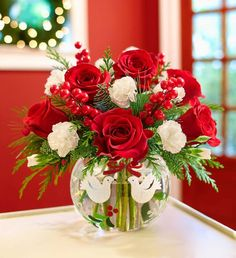 Christmas Flowers from DeVine Designs By Gail - your local Fulton, NY Florist & Flower Shop. Order Christmas Flowers directly from DeVine Designs By Gail - your local Fulton, NY florist and flower shop to save time and money. Winter Floral Arrangements, Christmas Flower Arrangements, Christmas Centerpieces, Floral Centerpieces, Christmas Decorations, Holiday Decor, Holiday Gifts, Flower Coupons, Discount Flowers