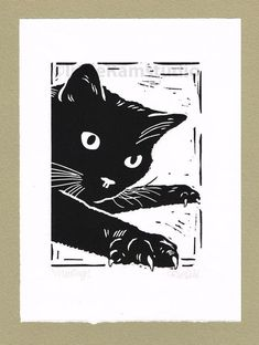 Black Cat Mousing - Original Hand Pulled Linocut Print #Cats