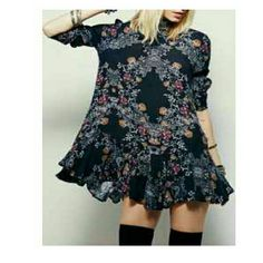 Flower dress Navy Folk Print Cut Out Back Flounce Dress Rose Dresses Mini