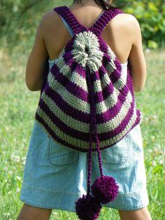 Knitting child bag, nursery school bag, fall autumn, Kids Backpack, purple mold green stripet Knit Bag , back to school, christmas gift idea. $60,00, via Etsy.