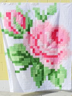 Riley Blake Designs Pixelated Rose Quilt Sew Along: Finished!