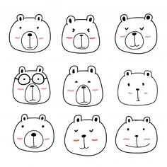 Stock vector of 'Hand Drawn Bear Cute Characters Set. Art Drawings For Kids, Doodle Drawings, Doodle Art, Easy Drawings, Animal Drawings, Drawing Animals, Cute Animal Clipart, Bear Clipart, Bear Character